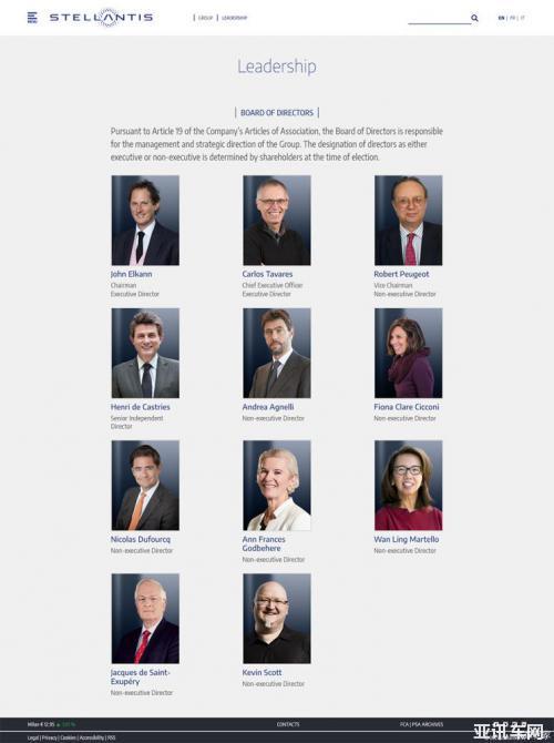 PSA和FCA组成的Stellantis任命董事成员